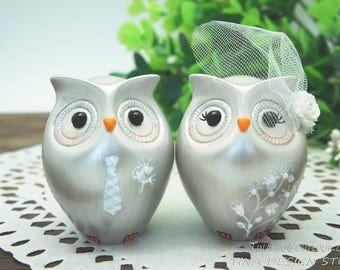 Silver Wedding Cake Toppers,25th Anniversary Wedding Cake Toppers,Custom Silver Owl Wedding Cake Toppers