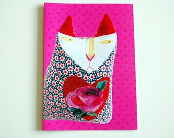 Cat Lover Card - Birthday Card - Anytime Card - Fun Cat Stationery -  Hot Pink - Digital Print