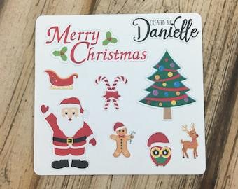SALE 30% OFF - Christmas Planner Sticker Sampler, Christmas Planner Stickers, December Holiday Planner Stickers, set of 8