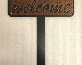 Metal Welcome Stake / Welcome Garden Stake / Welcome Sign Stake / Design 2