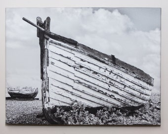 """Old Longshore Boat -  An Original Photo Canvas in Monochrome """"  (A3) 16 x 12 inches"""