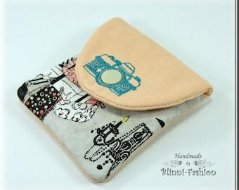 bag for camera accessories, gray, light rose