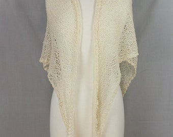 Hand knit Lace shawl Triangular Natural white lightweight Alpaca Very soft OOAK Crocheted lace edge Weddings