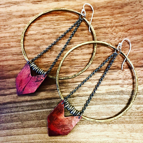 Large Warrior Earrings with Copper Chevron