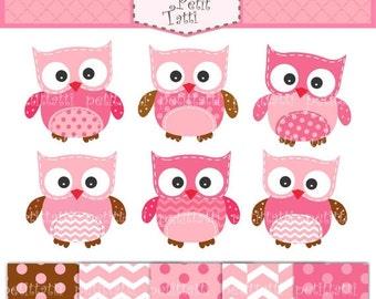 ON SALE owls Digital clip art, digital paper, owl clipart, girls owl clip art, cute owls clip art, hoot owls, pink digital paper, INSTANT