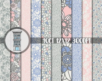 PINK BLUE Digital Floral Paper Pack Scrapbooking Cards Craft Papers Instant DOWNLOAD Hand drawn Pink Blue Floral patterns 12x12 300 dpi