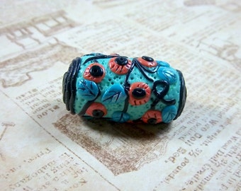 Focal Floral Bead, Polymer Clay, Handmade Bead,  Turquoise, Coral, Black, Barrel Bead, Jewelry Supplies