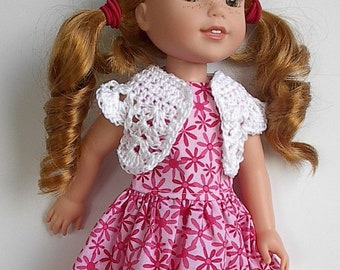 """14"""" Doll Clothes Sleeveless Cotton Dress with Pink Flowers and White Crocheted Bolero Handmade to fit 14.5"""" Wellie Wishers Dolls"""