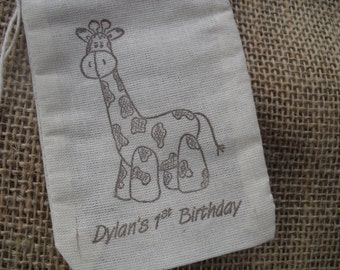 Giraffe Muslin Favor Bags Gift Bags or Candy Bags 3x5 -SET OF 10 - Item 3M1003