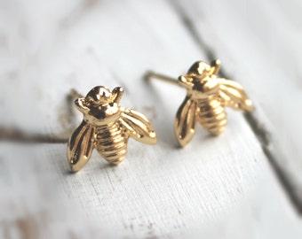 SALE.  14K Gold or Silver Plated Bee Earrings. Post Stud Earrings.