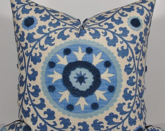 SUZANI TUFTED Blue Throw Pillow - Decorative Pillow Cover - Tribal Azure pillow - Waverly 3Park throw pillow - square - Designer pillow