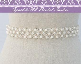Pearl Bridal Sash, Bridal Belt, Rhinestone Sash, Bridal Sash, Wedding Dress Sash, Pearl Bridal Belt, Crystal Dress Sash, Jeweled Sash