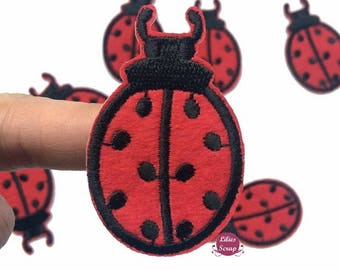 Set of 3 embroidered patches badges fusing ladybugs 6 cm