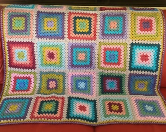 Ready To Ship Granny Square Crochet Blanket Afghan Knee Rug Throw