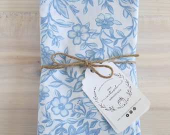 Blue Floral Cloth Napkins