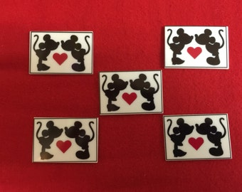 Set of 5 Kissing Mickey Mouse Minnie Mouse Resin