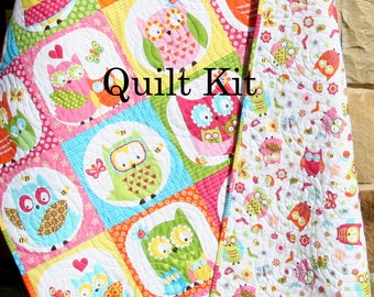 Owl Quilt Kit, Girl Whoo Loves You, Northcott, Michele Scott, Panel Stripe, Quick Easy Fun, Beginner Project, Pink Yellow Aqua, Baby Toddler