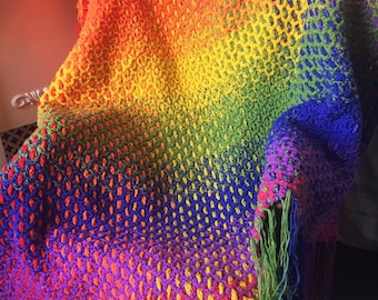 Crochet & Weave Pattern Rainbow Fade Throw