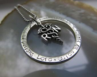 Nurses Necklace, RN, Nurses Prayer Necklace Handstamped Jewelry Registered Nurse Necklace Medical Necklace Gift for Her Graduation Gift