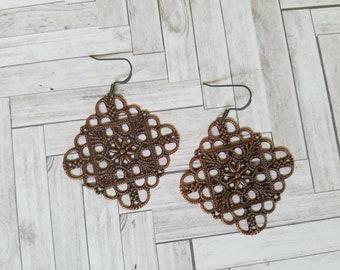 Antique Copper Filigree Earrings