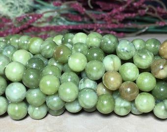 8mm Full Strand Green Jade (NOT DYED) Gemstone Round 8mm Loose Beads 15 inch Full Strand, Green Jade, Jade Beads