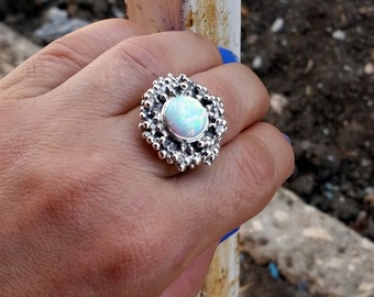 Opal ring, Opal Silver ring, Unique silver ring, Statement ring, Women's ring, white opal ring, Opal Jewelry, Israeli Jewelry, Gift