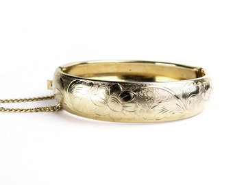 """Vintage Gold Filled Art Deco Etched Floral Hinged Bangle Bracelet - Safety Latch and Chain - Engraved Flowers - 5/8"""" Wide - 1950's"""