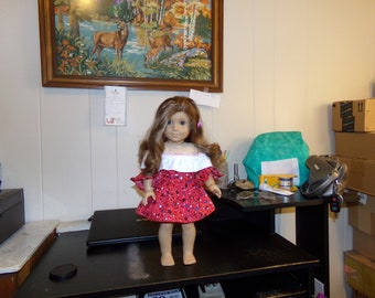 """Two dresses made for the Am. Girl doll and 18"""" dolls"""