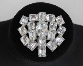 Vintage Art Deco Rhinestone Dress Clip, Pendent, Wedding Bridal Jewelry, Large Faceted 18 Metal Backed Stones