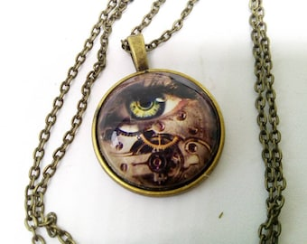 steampunk, green eye and gears, glass cabochon necklace