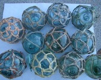 """Lot of 5 ~ 3"""" Japanese Glass Fishing Floats - With Netting ~ Old Vintage Japan Buoy - Nautical Maritime"""