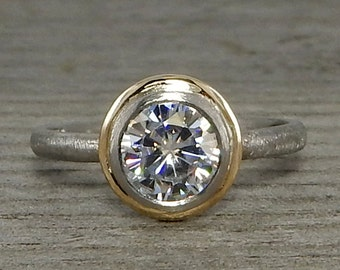 Moissanite Halo Engagement Ring - Forever One / One Carat Equivalent - Recycled 14k Yellow Gold and Recycled 950 Palladium - Conflict-Free