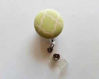 Light Green Fabric Badge Reel -Patterned Name Badge - ID Badge - Retractable Badge Reel - Name Tag - Nurse Gift - Teacher Gift -