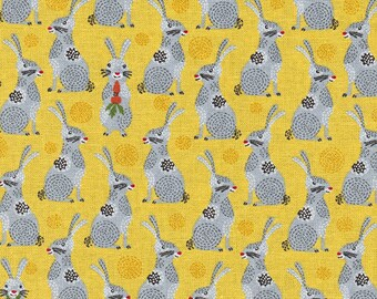 Charming Bunnies: Yellow & Gray - Japanese Import Fabric (By the Half Yard)