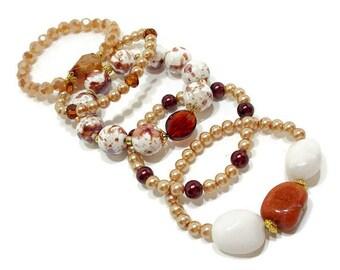 Five Gold & Brown Beaded Stack Bracelets, Stackable Bracelets, Stretch Bracelet Set, Boho Beaded Bracelets, Bohemian Stacking Bracelets