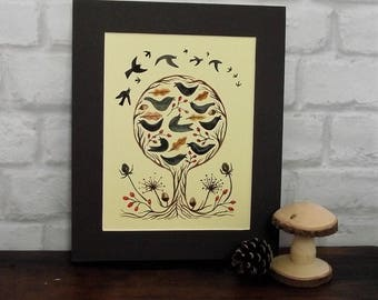 raven painting, black bird painting, crow painting, folk art painting, tree painting, nature art, folkart picture, starling painting, birds