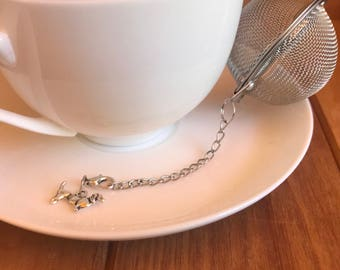 Dachshund tea infuser stainless steel mesh ball with removable silver toned sausage dog charm