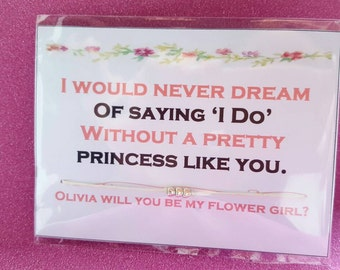 Novelty personalised bracelet - will you be my flowergirl. For weddings. FREE SHIPPING