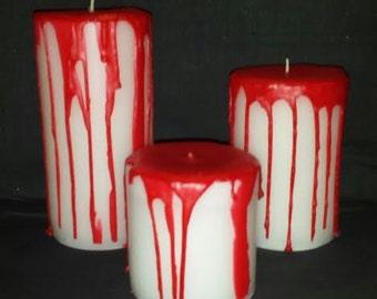 Bloody Pillar Candles, Bleeding Pillar Candles, Halloween Candles, Halloween Decor, Custom Pillar Candles