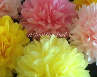 LEMONADE WARS / 12 tissue paper pom poms / wedding decorations, birthday decor, nursery decor, baby shower, bridal shower, tissue poms,