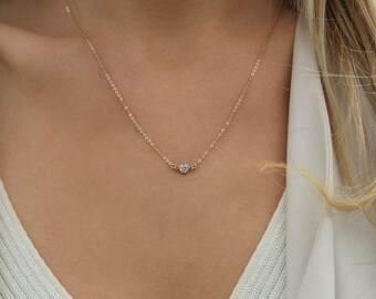 Gold cz necklace / 14k Gold filled necklace / Clear CZ Stone necklace / Layering necklace