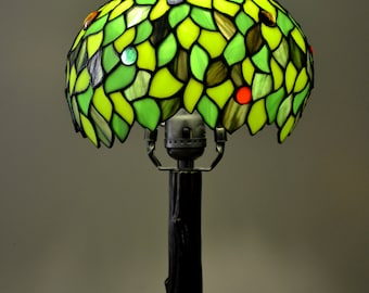 Green Tree Tiffany Lamp. Stained Glass Lamp Shade. Stained Glass Art.  Natural Design
