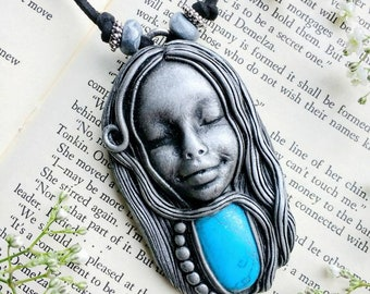 One Of A Kind Pendant, Goddess Pendant, Handmade Polymer Clay Pendant, Bohemian Goddess Pendant, Unique Turquoise Mother Earth Pendant.