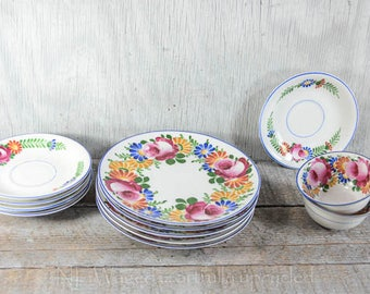 Vintage Bavaria Z S & Co 8186 china plates and cups, hand painted