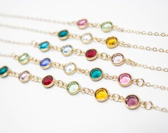 Mother's Necklace, Mother's Birthstone Gold Necklace, Choose your Crystal Colors