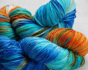 handdyed yarn -  100g/3,5 oz. -  Colour blue indian wedding