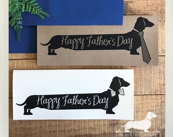 Long Doxie Dad. Note Card -- (Father's Day Card, Tie, Bowtie, Dad, Papa, New Dad, Dog, Cute, Dachshund, Vintage-Style, Weiner Dog, Rustic)