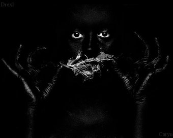 Can't Keep This Mouth Shut - FREE SHIPPING Surreal Photo Print Creepy Portrait Black & White Gray Hidden Face Quiet Wall Fine Art Decor