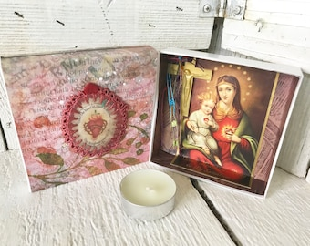Pocket shrine prayer box Madonna and Child icon pink upcycled embellished/ free shipping US