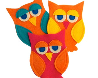 Little Owl Package of Three Appliqués for your craft projects